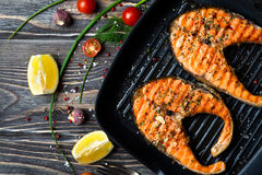 Grilled steaks salmon Stock Image