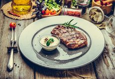 Free Grilled Steaks, Steak On A Plate Royalty Free Stock Photography - 100588407