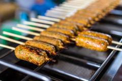 Grilled stick of fish cakes Royalty Free Stock Images