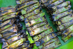 Grilled sticky rice wrap with banan leaves Stock Image
