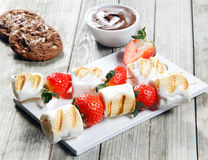 Grilled Strawberry and Marshmallow on Stick Royalty Free Stock Images