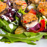 Grilled stuffed MUSHROOMS with colourful salad. A fresh Grilled stuffed MUSHROOMS with colourful salad Stock Image