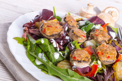 Grilled stuffed MUSHROOMS with colourful salad. A fresh Grilled stuffed MUSHROOMS with colourful salad Royalty Free Stock Photos