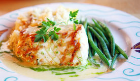 Grilled Sturgeon with Green Beans Stock Image