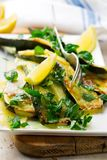 Grilled summer squash and cheese lemon mint Stock Photo