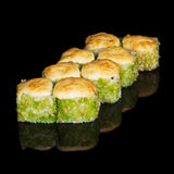 Grilled sushi rolls with caviar and cheese Royalty Free Stock Image