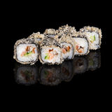 Grilled sushi rolls with salmon and eel Royalty Free Stock Photos