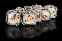 Grilled sushi rolls with salmon and eel Royalty Free Stock Photography