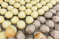 Grilled sweet cassava and taro ball (Thai Dessert) Stock Image