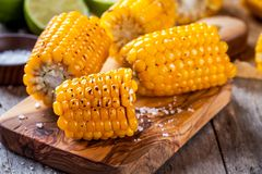 Grilled sweet corn with salt and lime Royalty Free Stock Image