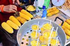 Grilled sweet corn on Street Market Royalty Free Stock Photography
