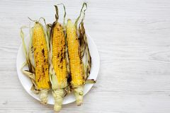 Grilled sweet corn on a white round plate over white wooden background, top view. Summer vegan snack. Healthy diet. royalty free stock photography