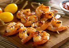 Grilled Sweet and Spicy Shrimp Skewers Stock Photo