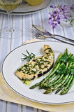 Grilled sword fish with asparagus, Italian food Royalty Free Stock Photography