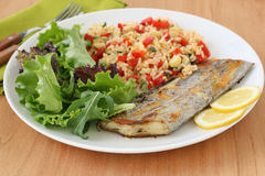 Grilled swordfish with rice Royalty Free Stock Photos
