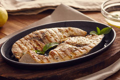 Grilled swordfish. Slices in a cast iron pan on a wooden table, garnished with mint, oregano, salt and salmoriglio Stock Photo