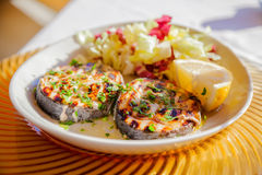 Grilled swordfish steaks Royalty Free Stock Images