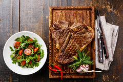 Grilled T-Bone Steak with Salad Stock Image