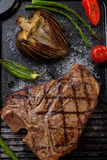Grilled T-Bone Steak and Vegetables Stock Photos