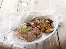 Grilled tenderloin with cep Royalty Free Stock Image