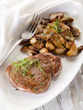 Grilled tenderloin with cep Stock Image
