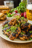 Grilled teriyaki chicken wings Stock Images