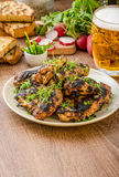 Grilled teriyaki chicken wings Stock Photo