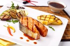 Grilled Teriyaki Salmon Steak stock photos