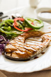 Grilled Teriyaki salmon steak with vegetables Stock Photos
