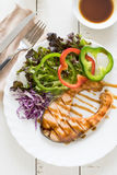 Grilled Teriyaki salmon steak with vegetables Royalty Free Stock Photography