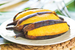 Grilled banana. Grilled Thai banana [ as snack or dessert royalty free stock images