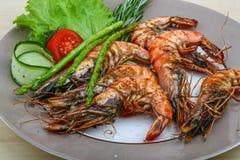 Grilled tiger prawn Stock Images