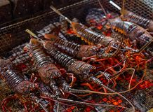 Grilled tiger prawns at BBQ party royalty free stock photos