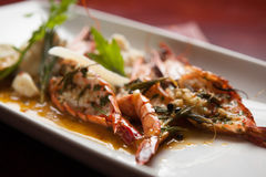 Grilled tiger prawns with cheese mashed potatoes Stock Photography