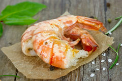 Grilled tiger prawns Royalty Free Stock Photo