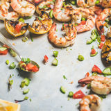 Grilled tiger prawns with lemon and mint salsa, square crop Stock Images
