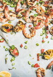 Grilled tiger prawns with lemon and mint salsa, top view Royalty Free Stock Photos