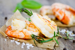 Grilled tiger prawns Royalty Free Stock Images