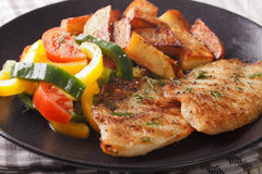 Grilled Tilapia fillet and potato wedges, fresh salad close-up. Grilled Tilapia fillet and potato wedges, fresh salad on a plate close-up. horizontal Stock Image