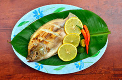 Grilled Tilapia with lemon and chili on banana leaves Royalty Free Stock Photos