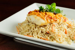 Grilled Tilapia with Tomato Sauce and Cheddar Cheese Stock Image