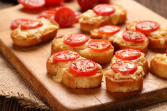 Grilled toast with cheese and tomatoes Royalty Free Stock Photo