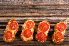 Grilled toast with cheese and tomatoes Royalty Free Stock Photos