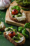 Grilled toasts with pesto Royalty Free Stock Photography