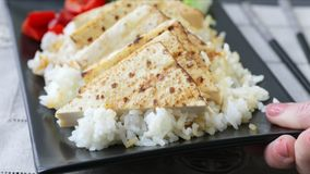 Grilled Tofu Dinner stock footage