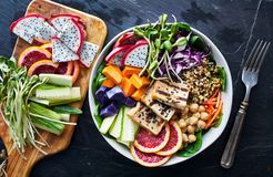 Buddha bowl with grilled tofu Royalty Free Stock Photography