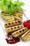 Grilled Tofu sausage and potatoes with ketch-up Royalty Free Stock Photo