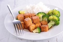 Grilled tofu with soy sauce Stock Image