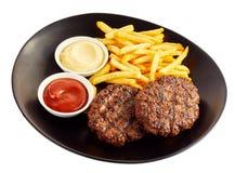 Grilled triturou a carne e as batatas fritas imagem de stock
