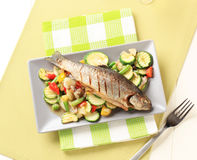 Grilled Trout And Mixed Vegetables Royalty Free Stock Photos